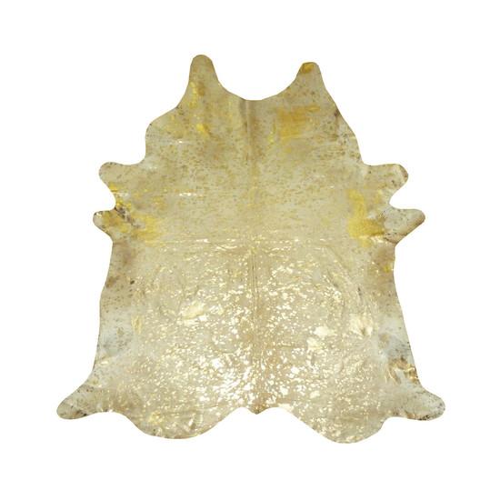 Cowhide rug   beige with gold metallic gilded home treniq 1 1498478543679