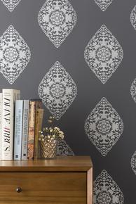 Boteh Wallpaper - Silver