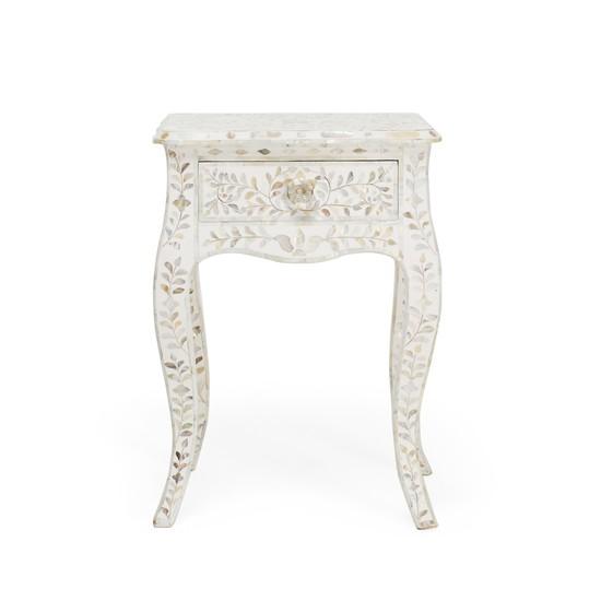 Mother of pearl single drawer bedside table shakunt impex pvt. ltd. treniq 1 1501142510334