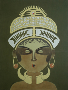 The-Charm-Of-Tribal-Woman-A-Painting-By-Vernssage-Art-Gallery_Vernssage_Treniq_0
