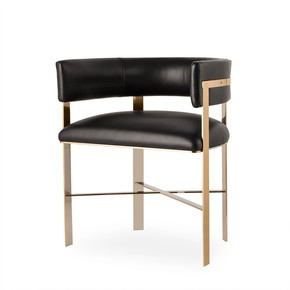 Art-Dining-Chair-Mirrored-Brass-(Black-Leather)_Kelly-Hoppen_Treniq_0