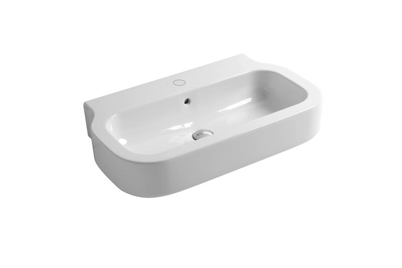 Glaze 75cm wall hung basin brass   clay treniq 1 1504461327485