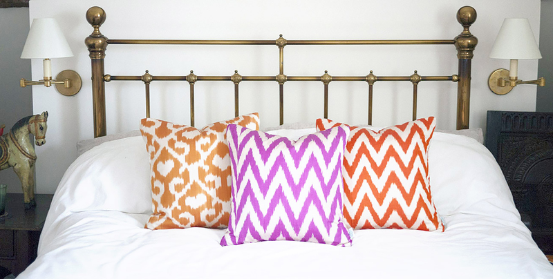 Orange frankie ikat cushion nomad design treniq 1 1512496367119