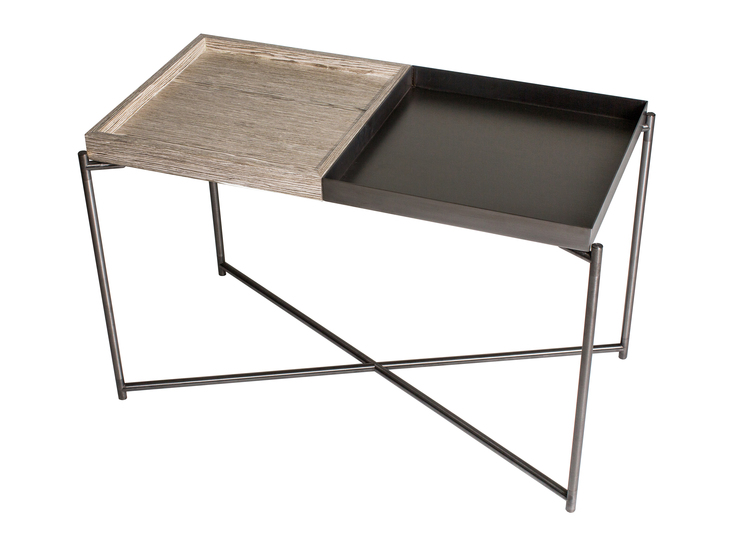 Iris rectangle tray top side table weathered oak   gunmetal trays with gun metal frame gillmorespace limited treniq 1 1513171327090