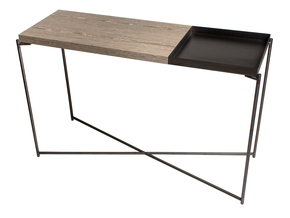 Iris-Large-Console-Table-With-Large-Weathered-Oak-Top-And-Small-Gun-Metal-Tray-With-Gun-Metal-Frame_Gillmore-Space-Limited_Treniq_0