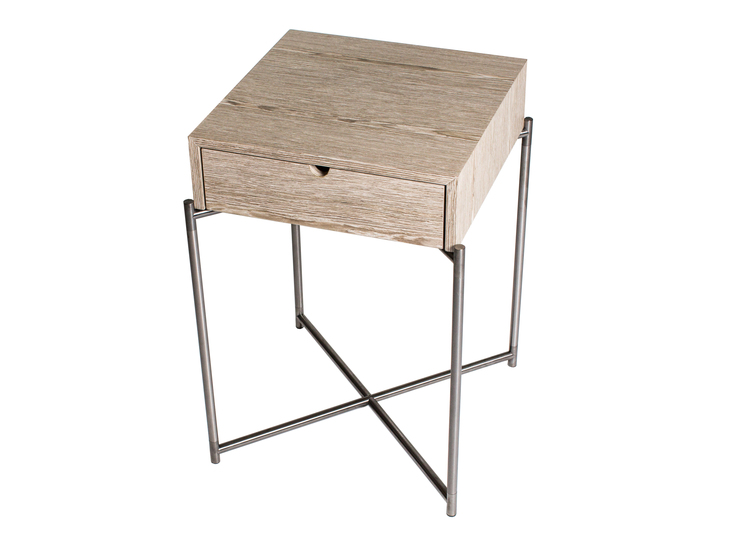 Iris square side table with drawer weathered oak with gun metal frame gillmorespace limited treniq 1 1513172195664