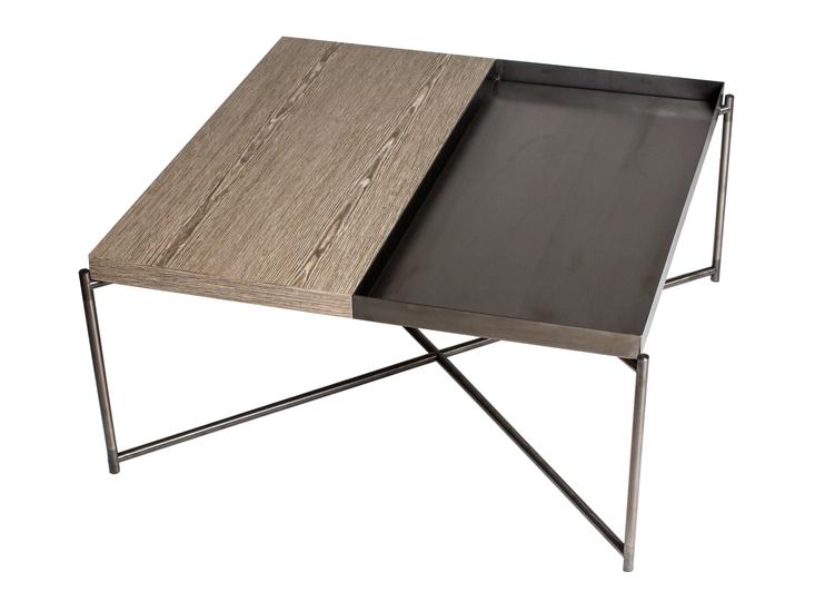 Iris square top coffee table weathered oak with gun metal trays and gun metal frame gillmorespace limited treniq 1 1513172557290