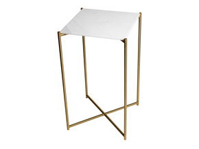 Iris-Square-Plant-Stand-White-Marble-With-Brass-Stand_Gillmore-Space-Limited_Treniq_0