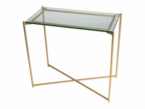 Iris-Small-Console-Table-Clear-Glass-With-Brass-Frame_Gillmore-Space-Limited_Treniq_0