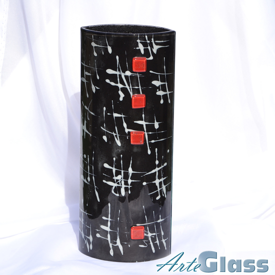 Vase black white 30 cm rounded arteglass treniq 1 1516207087620
