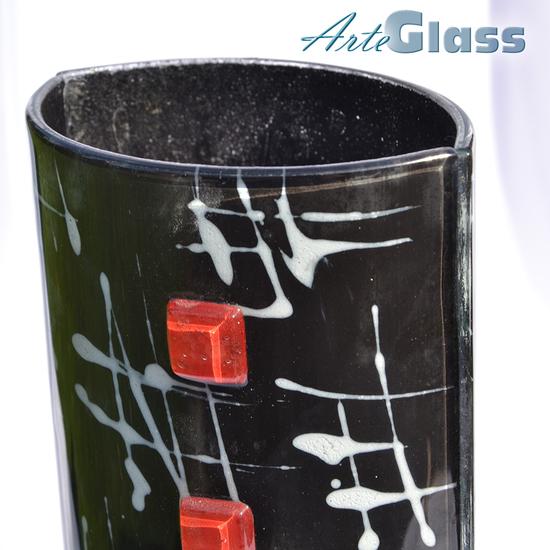 Vase black white 30 cm rounded arteglass treniq 1 1516207087644