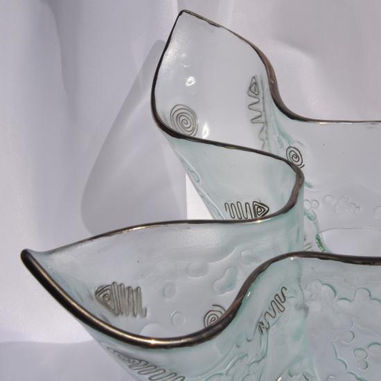 Vase clear with metal and oldplatinum 25 cm arteglass treniq 8 1516293434027