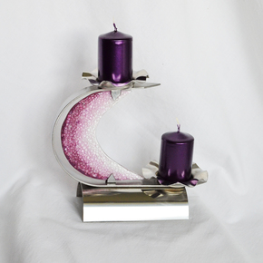 "Candlestick-""C""-Stainless-Steel-+-Violet-Glass_Arte-Glass_Treniq_0"