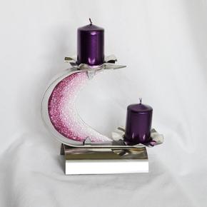 "Candlestick-""C""-Stainless-Steel-+-Violet-Glass_Arte-Glass_Treniq_0"