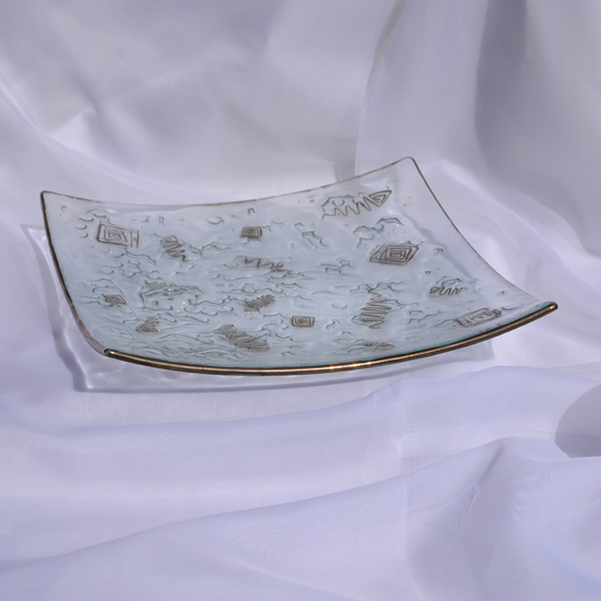 Bowl clear with metal and oldplatinum 30x30 shallow arteglass treniq 8 1516293928596