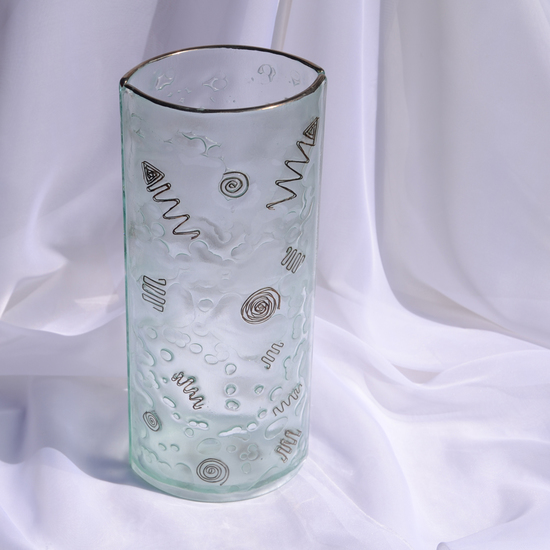 Vase clear with metal and oldplatinum 30 cm rounded arteglass treniq 7 1516295043170
