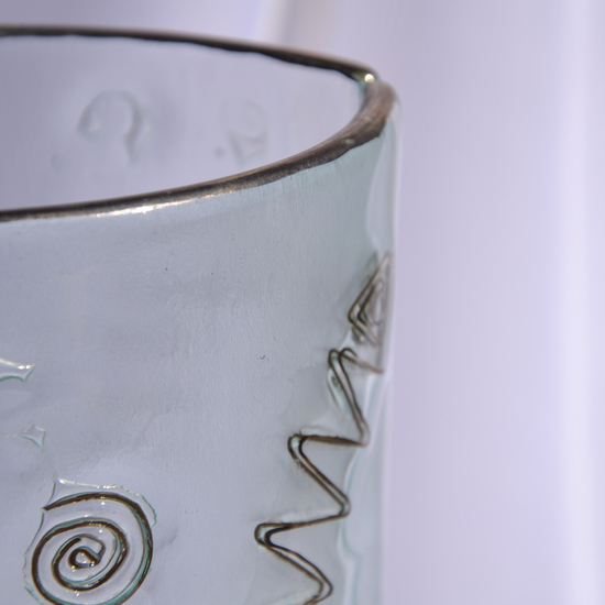 Vase clear with metal and oldplatinum 30 cm rounded arteglass treniq 7 1516295043180