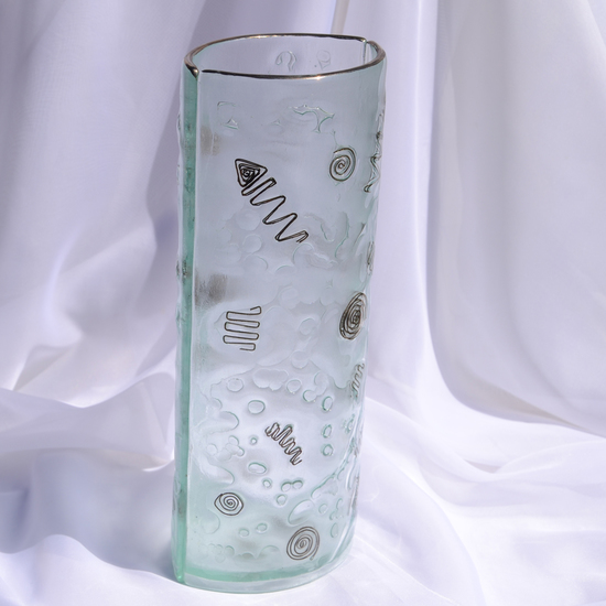 Vase clear with metal and oldplatinum 30 cm rounded arteglass treniq 7 1516295043175