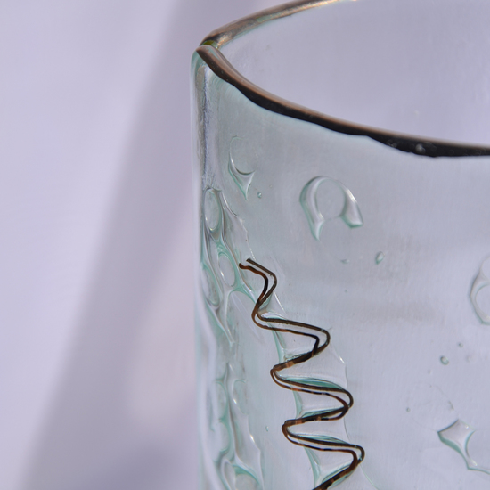 Vase clear with metal and oldplatinum 30 cm rounded arteglass treniq 7 1516295043185