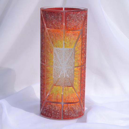 Vase orange yellow red 30 cm rounded arteglass treniq 7 1516295132971