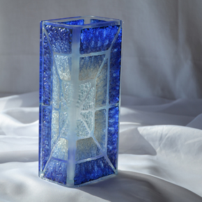Vase-Blue-White-20-Cm-Square_Arte-Glass_Treniq_0