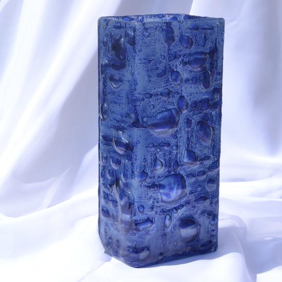 Vase dark blue 30 cm square arteglass treniq 8 1516295293909