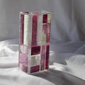 Vase-Violet-White-20-Cm-Square_Arte-Glass_Treniq_0