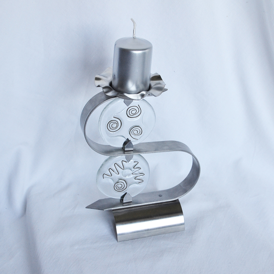 Candlestick %22s%22 stainless steel   clear glass arteglass treniq 3 1516295611495