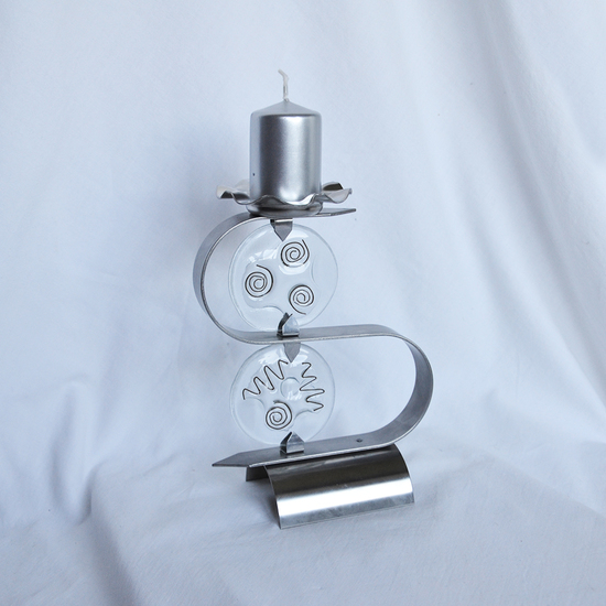 Candlestick %22s%22 stainless steel   clear glass arteglass treniq 3 1516295611487