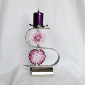 "Candlestick-""S""-Stainless-Steel-+-Violet-Glass_Arte-Glass_Treniq_0"