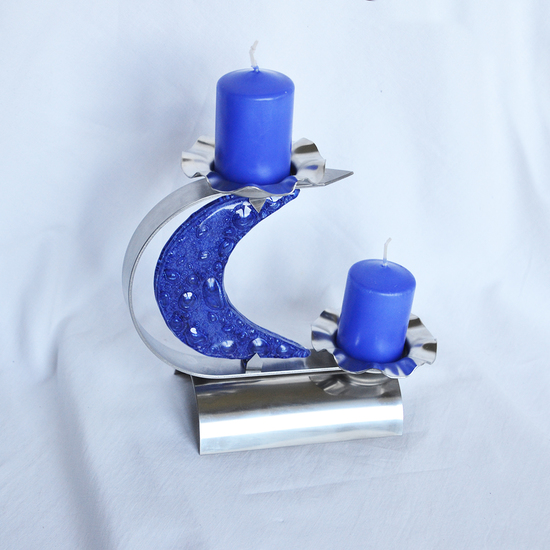 Candlestick %22c%22 stainless steel   blue glass arteglass treniq 3 1516295690211