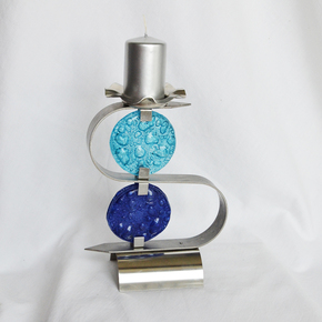 "Candlestick-""S""-Stainless-Steel-+-Turquoise-And-Blue-Glass_Arte-Glass_Treniq_0"