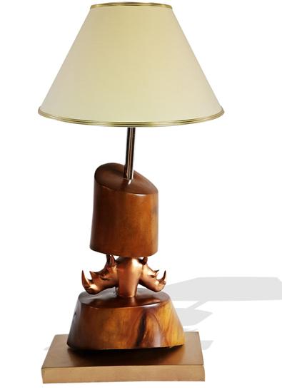 Bronze double head rhino lamp avana africa treniq 1 1516795639690
