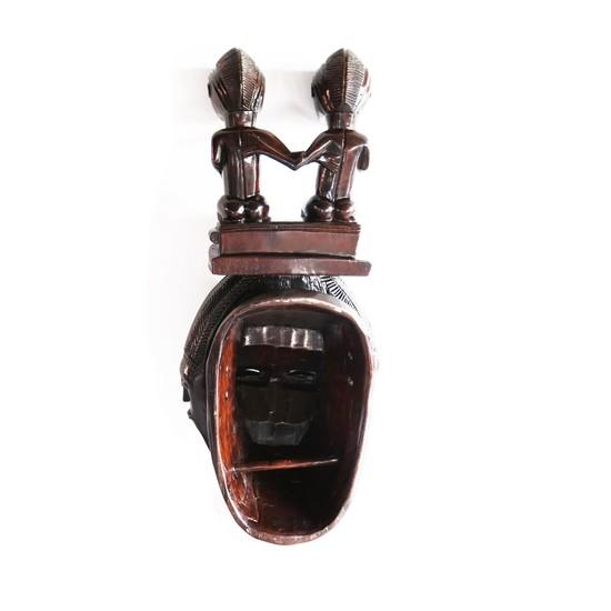 Mask baule with twin statues on headgear avana africa treniq 1 1516871532109