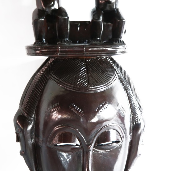 Mask baule with twin statues on headgear avana africa treniq 1 1516871532106