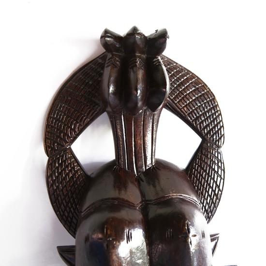 Double faced senoufu mask with 3 birds on headgear avana africa treniq 1 1516873851574