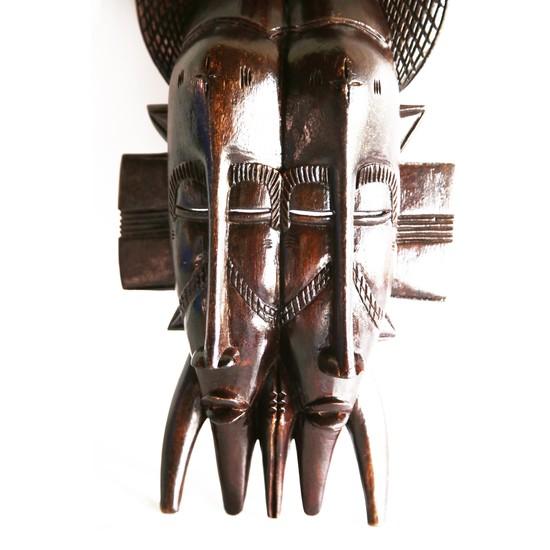 Double faced senoufu mask with 3 birds on headgear avana africa treniq 1 1516873851576