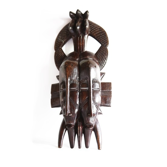 Double faced senoufu mask with 3 birds on headgear avana africa treniq 1 1516873851579