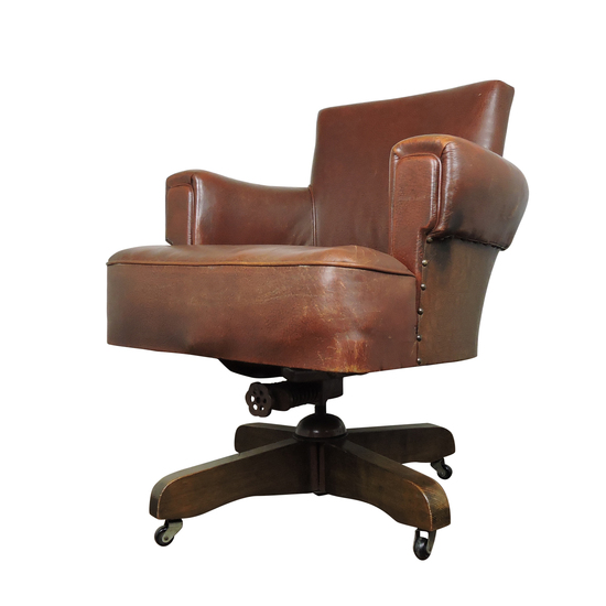 Whisky brown leather captains chair from hillcrest  1920s danielle underwood treniq 1 1517324567399