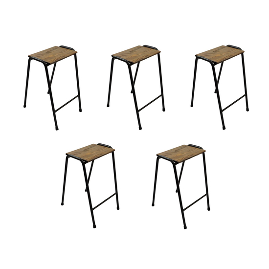 Set of five british elm topped science lab stools danielle underwood treniq 1 1517328442784