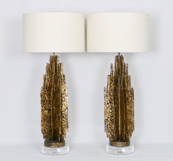 Monumental mcm brutalist pair of lamps  paul evans manner sergio jaeger treniq 1 1517938654973