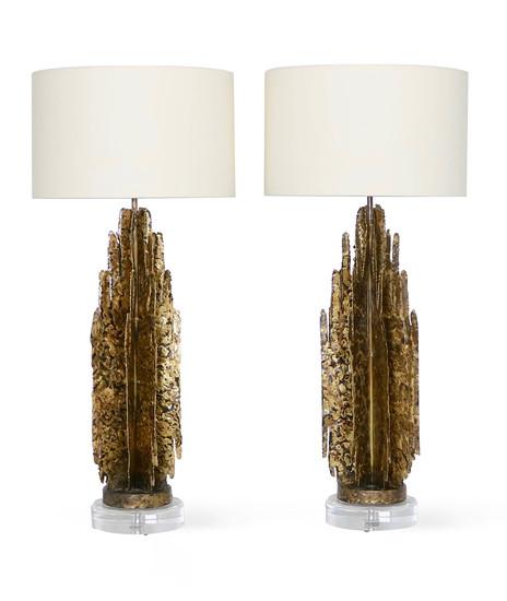 Monumental mcm brutalist pair of lamps  paul evans manner sergio jaeger treniq 1 1517938654972