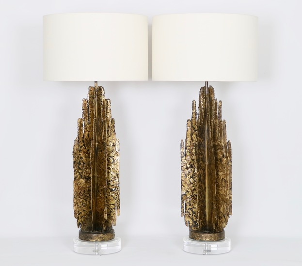 Monumental mcm brutalist pair of lamps  paul evans manner sergio jaeger treniq 1 1517938654974