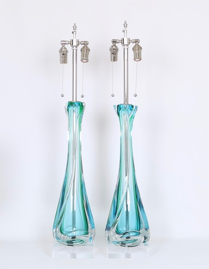 Mid century archimede seguso table lamps in sommerso murano glass sergio jaeger treniq 1 1517944401233
