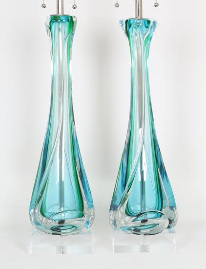 Mid century archimede seguso table lamps in sommerso murano glass sergio jaeger treniq 1 1517944401234