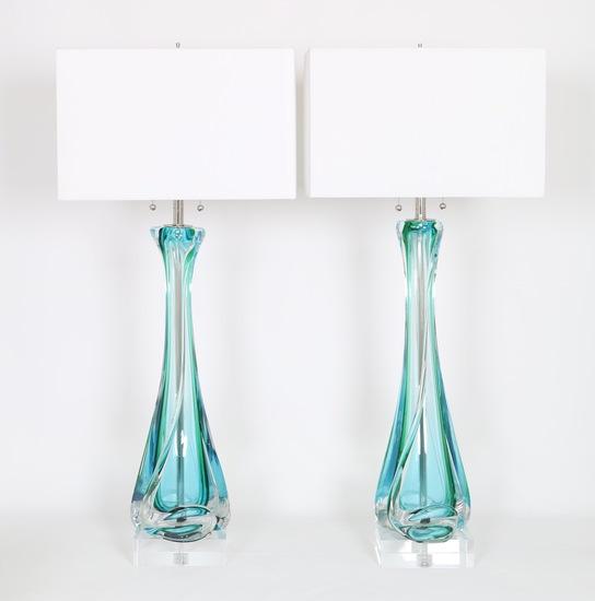 Mid century archimede seguso table lamps in sommerso murano glass sergio jaeger treniq 1 1517944401229