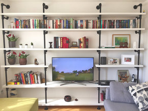 Andra White Painted Pipe Bookcase