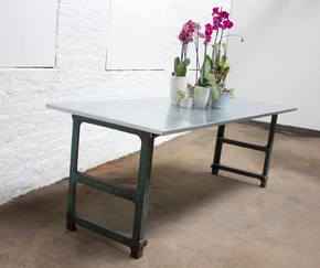 Saunders Table with Metal Workbench Legs
