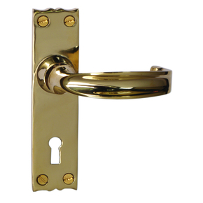 Cardea Rtd Door Handle on Backplate Unlacquered Brass