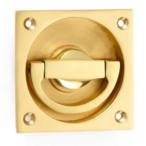 Croft Hardware Flush Latch Ring Handle on Square Backplate